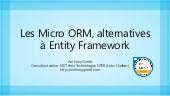 Les micro orm, alternatives à entity framework