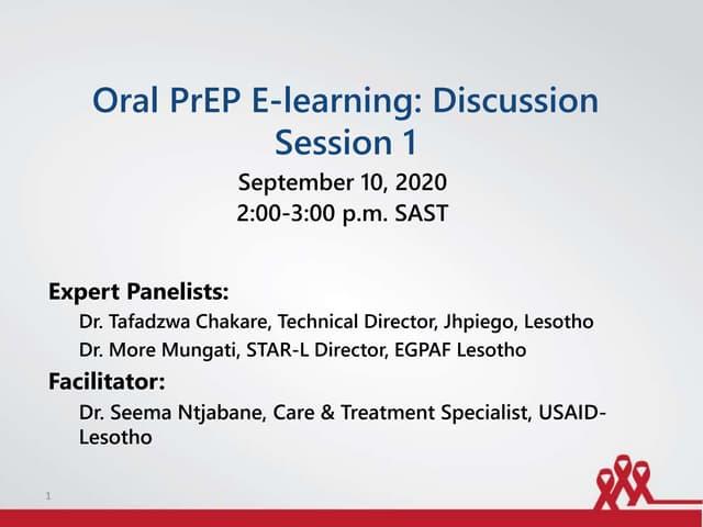 Oral PrEP Webinar Session I - Lesotho