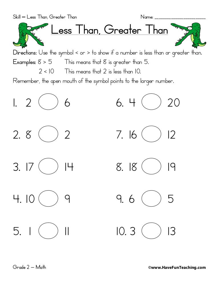 Free first grade math worksheets greater than less than