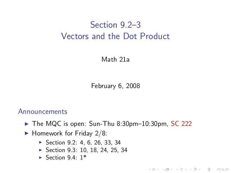 Lesson 2 Vectors And The Dot Product