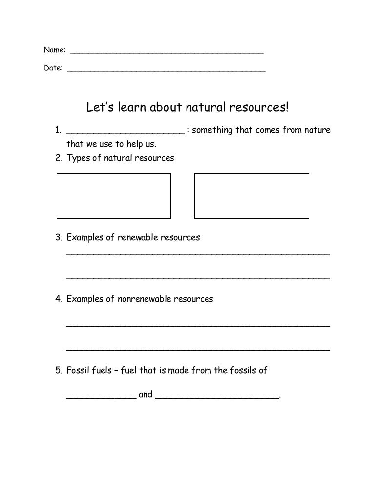 Lesson 1 worksheet – Renewable and Nonrenewable Resources Worksheets