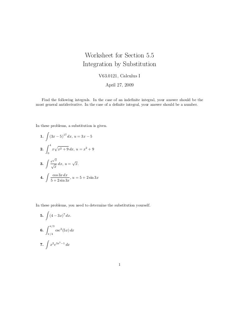 Lesson 27 Integration By Substitution Worksheet