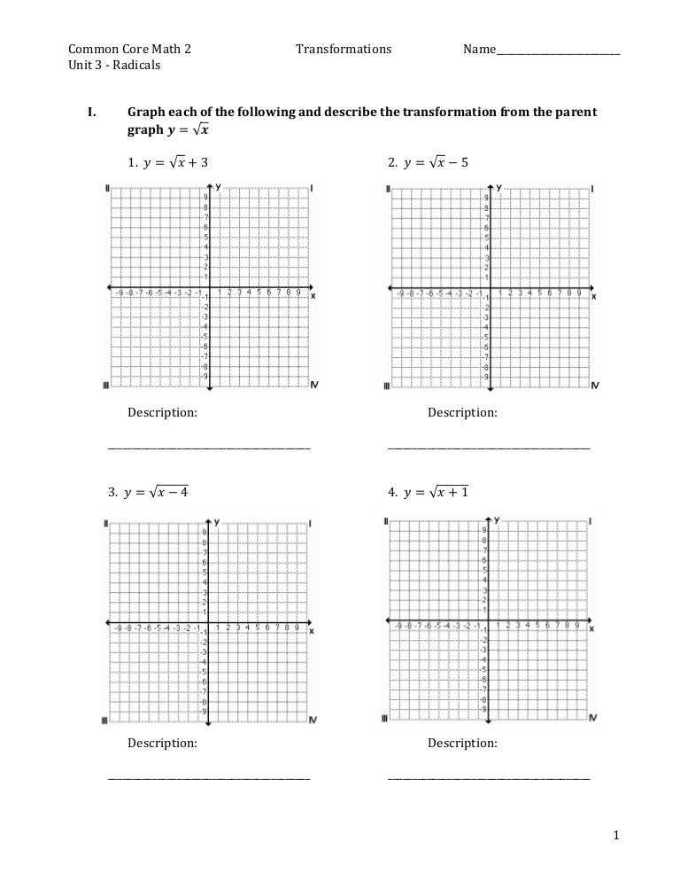 Practice for Square Root Graph Transformations – Transformations of Graphs Worksheet