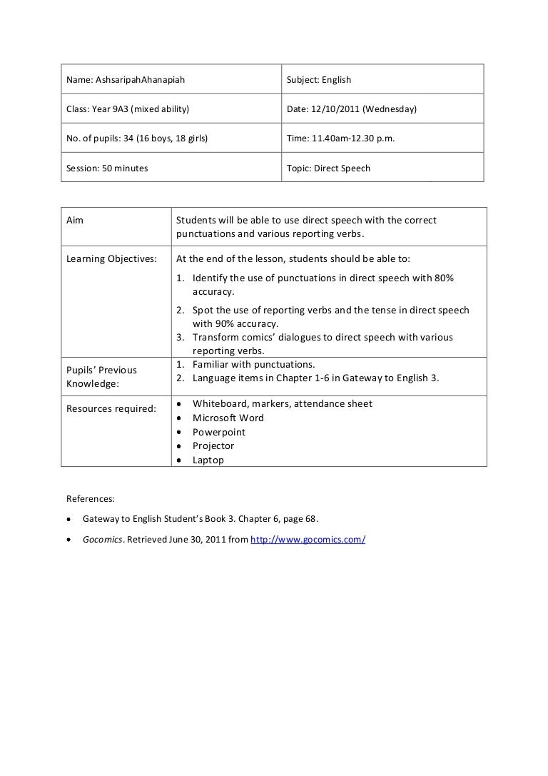 worksheet Parts Of Speech Worksheets Middle School lesson plan 5 direct speech