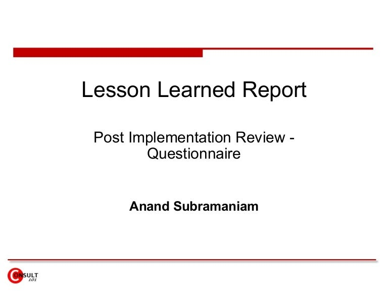 post implementation plan template - lesson learned report