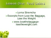 Lesson One Food Lables