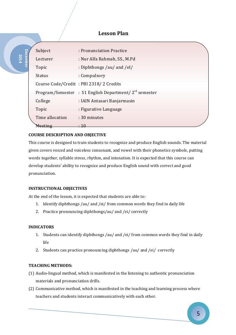 Lesson Plan Pronunciation - Lesson plan template australia