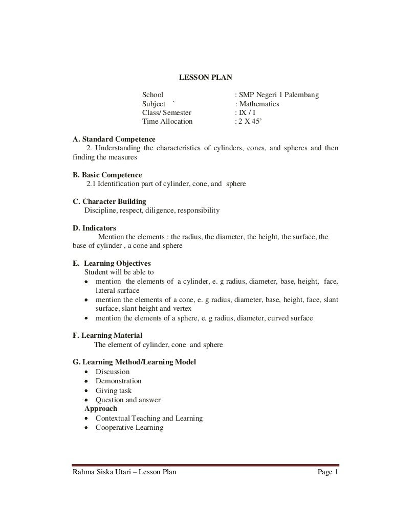 Sample Lesson Plan For Elementary Eczalinf
