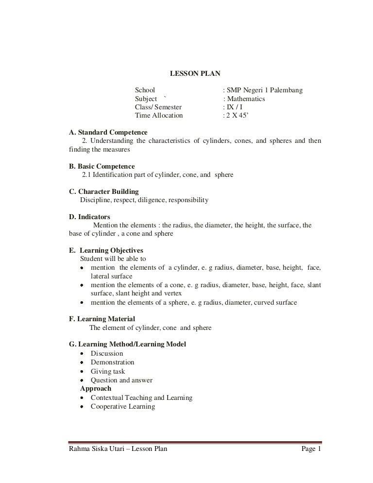math lesson plan format