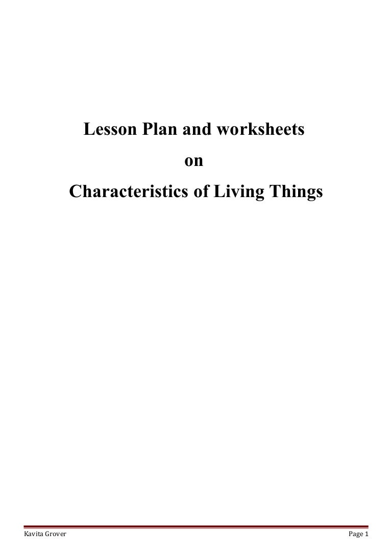 Lesson Plan and Worksheets on Characteristics of Living Lhings – Lesson Plan Worksheets