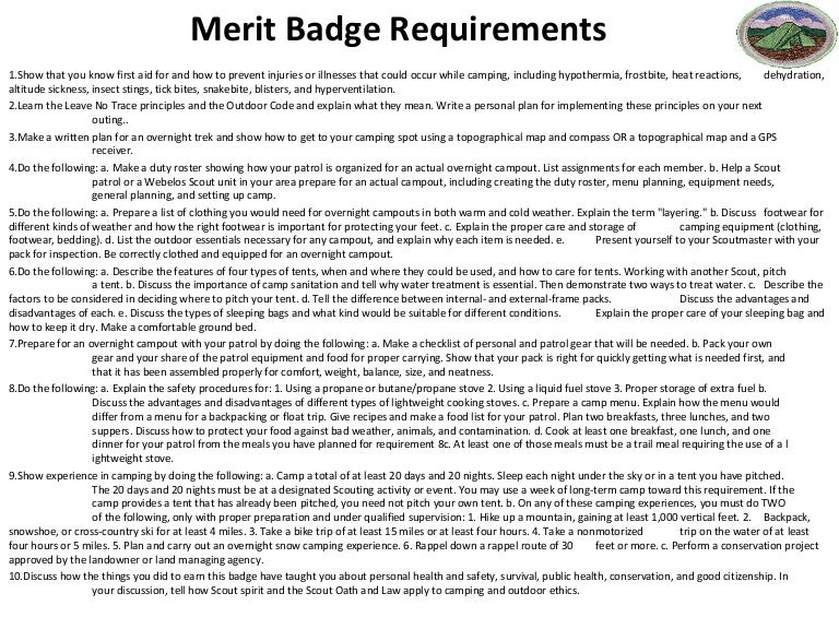 Lesson plan camping – Family Life Merit Badge Worksheet