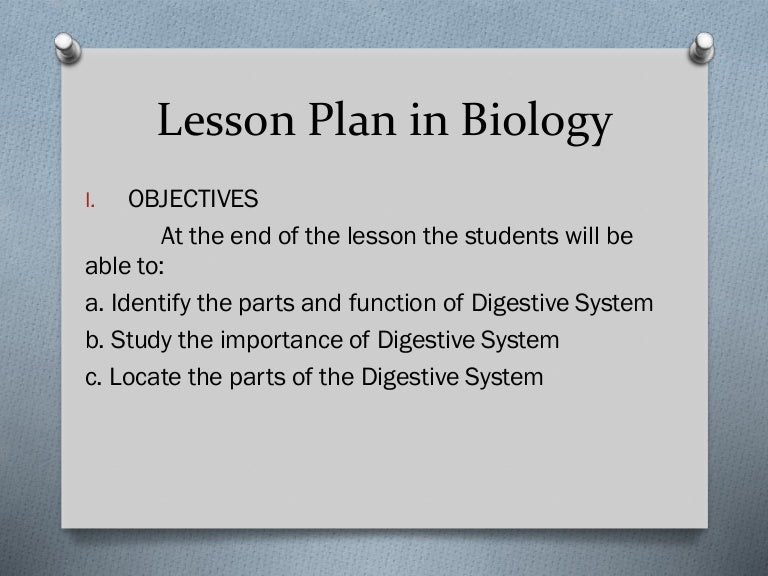 Lesson Plan In Biology