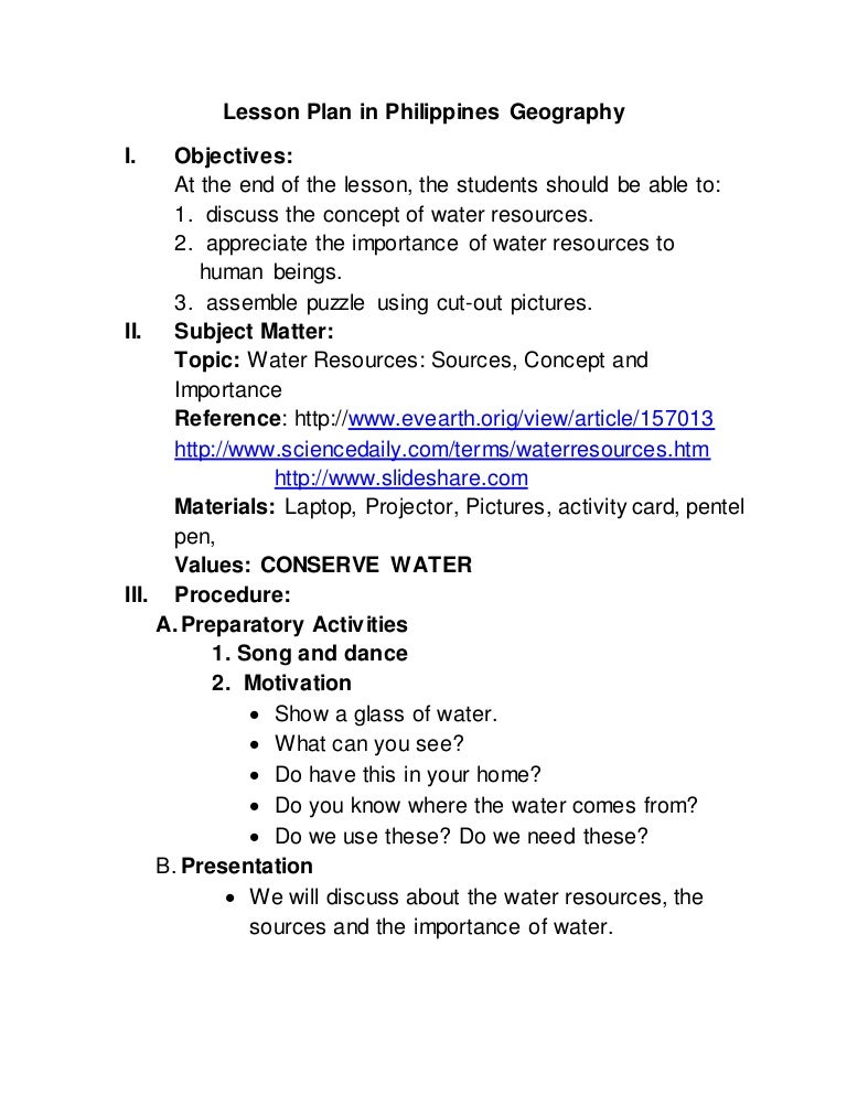Lesson plan in philippines geography