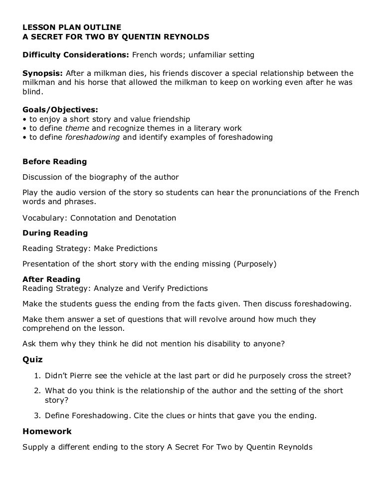 Lesson plan outline a secret for two quentin reynolds altavistaventures Choice Image