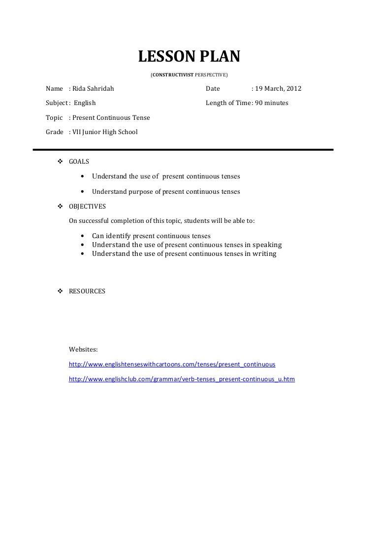 Workbooks past present and future tense worksheets : Lesson plan Rida Sahridah present continuous tense