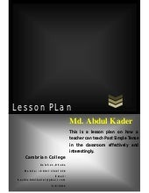 Sample Lesson Plan on Past Simple Tense