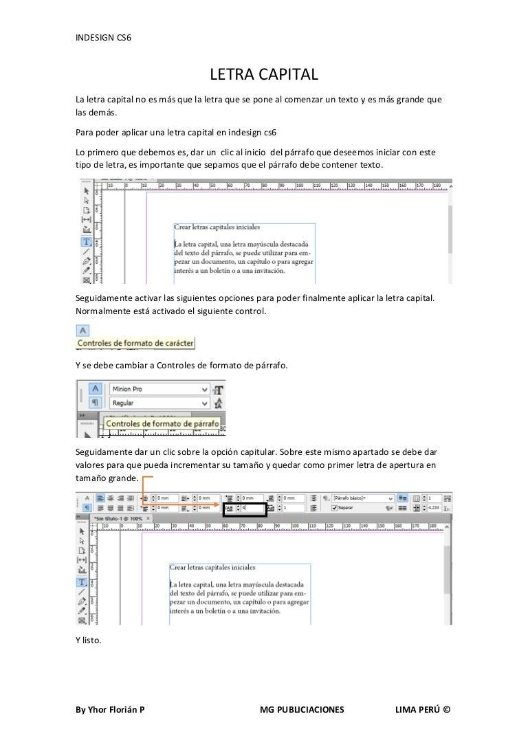 Letra capital en INDESIGN CS6