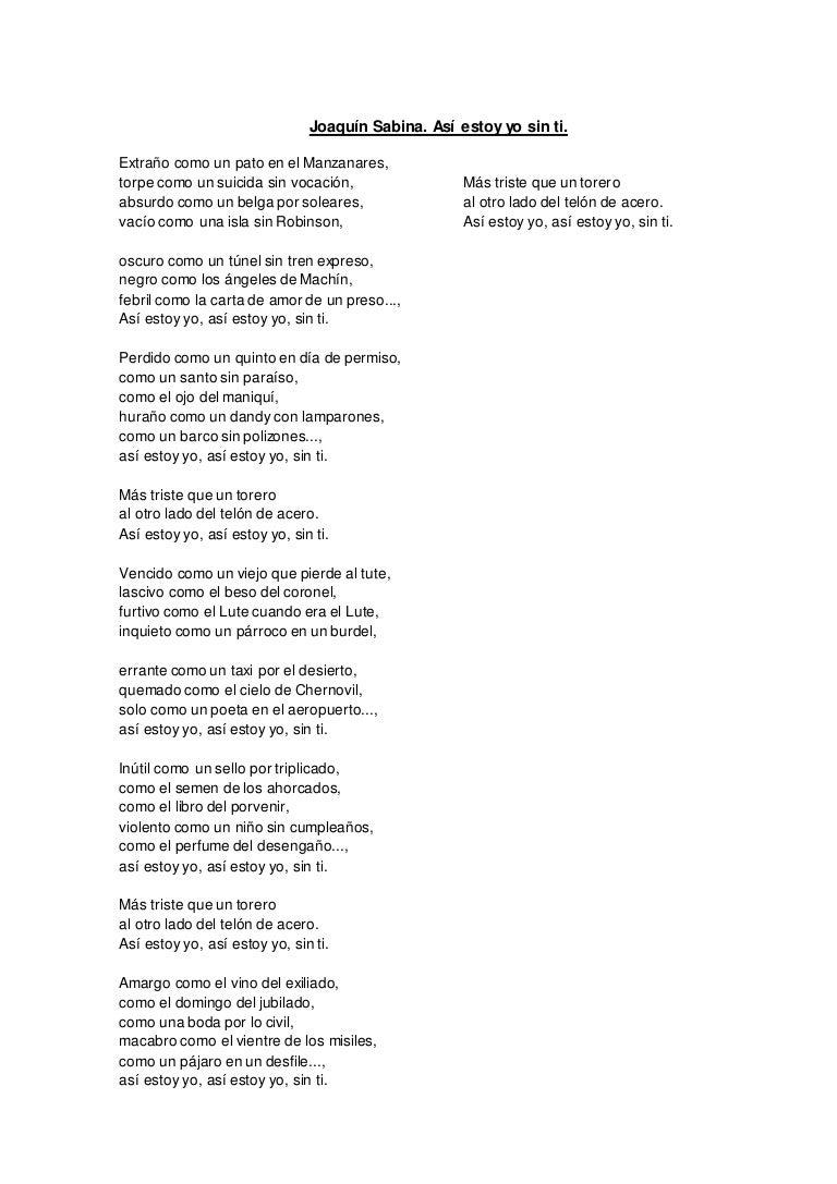 Letra Joaquín Sabina Para Trabajar Adjetivos