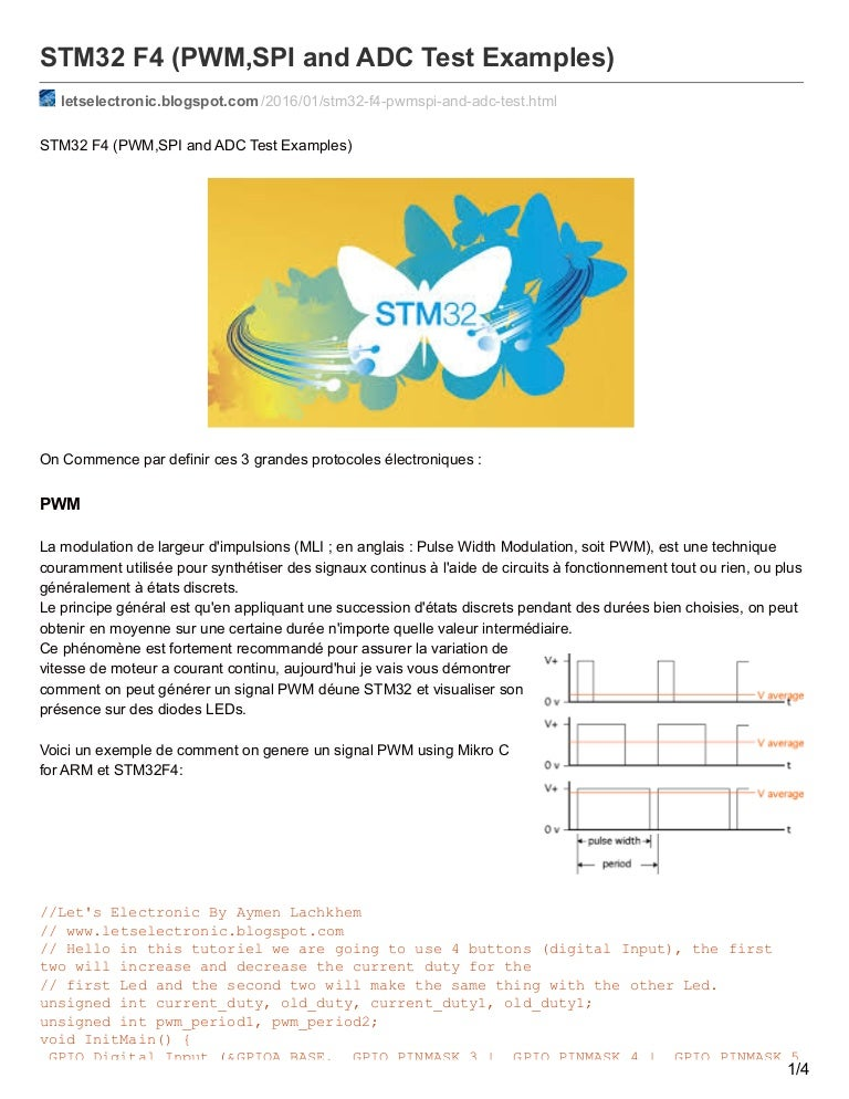 STM32 F4 (PWM,SPI And ADC Test Examples)