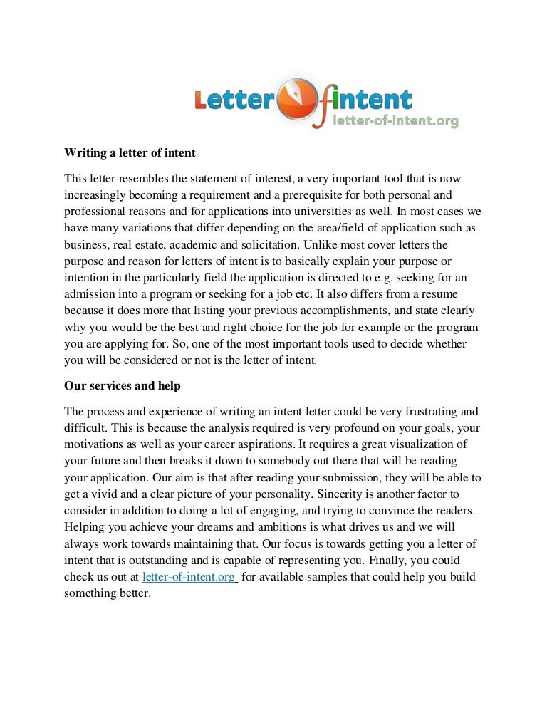 Letter Of An Intent Writing Service