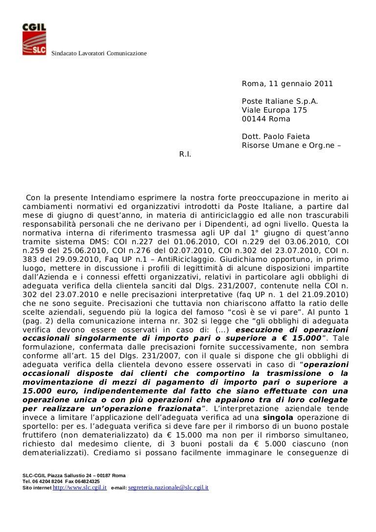 lettera antiriciclaggio