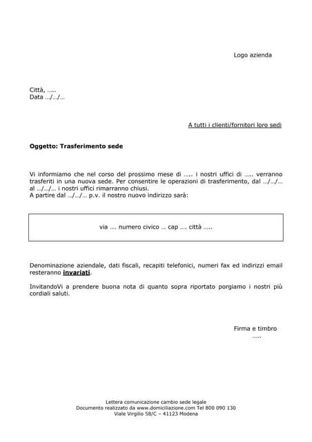modello lettera cambio sede legale