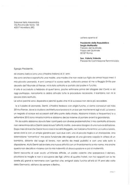 La lettera di Ilaria Sassone al presidente Sergio Mattarella