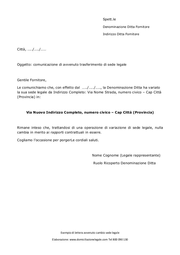 lettera per avvenuto cambio di sede legale