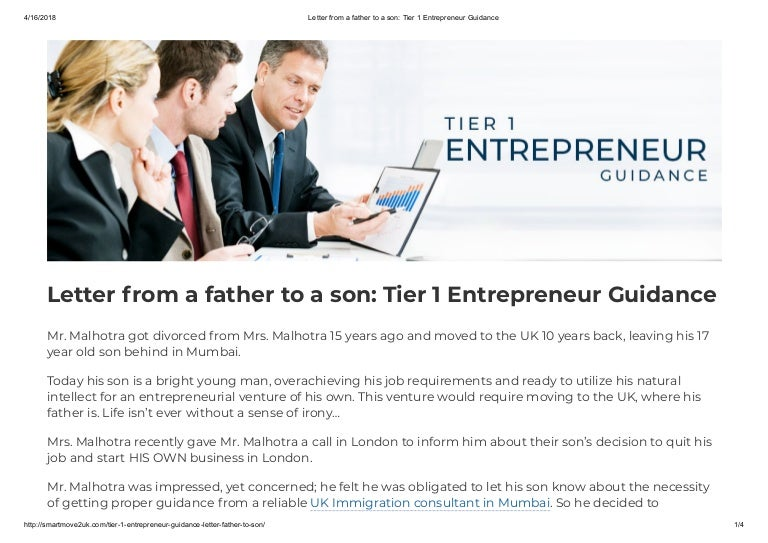 Letter From A Father To A Son Tier 1 Entrepreneur Guidance The Smar