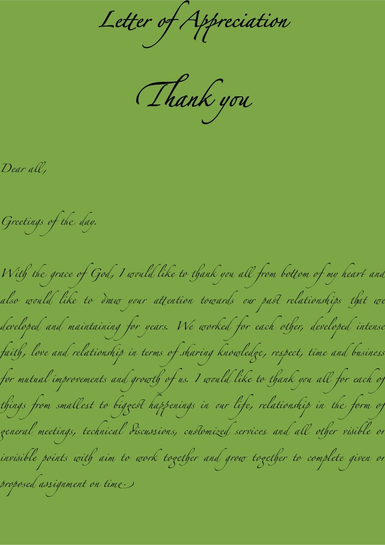 Letter of appreciation from raam mishra kristyandbryce Image collections