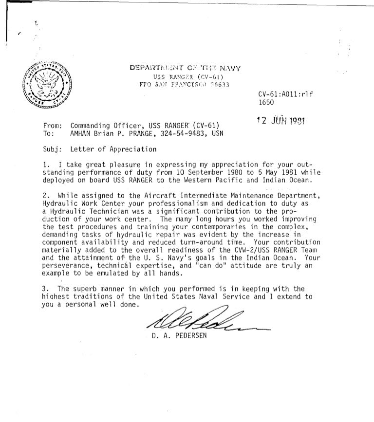 Letter Of Appreciation From Navy .