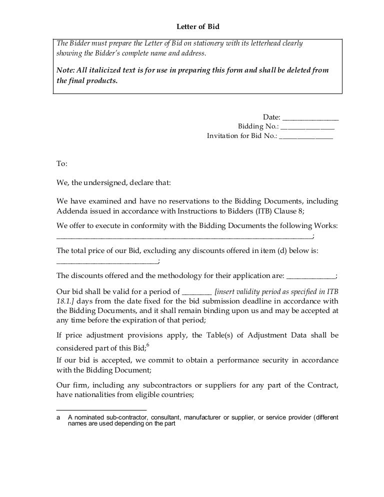 Letter of bid stopboris Images