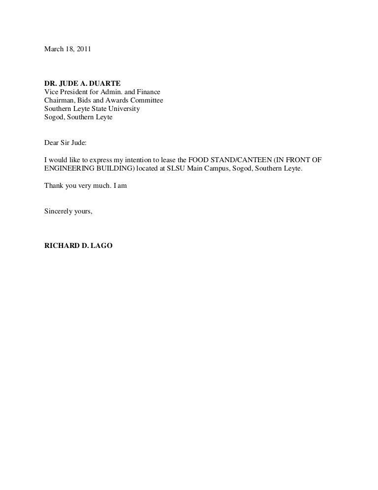 Letter of intent – Lease Letter of Intent Sample
