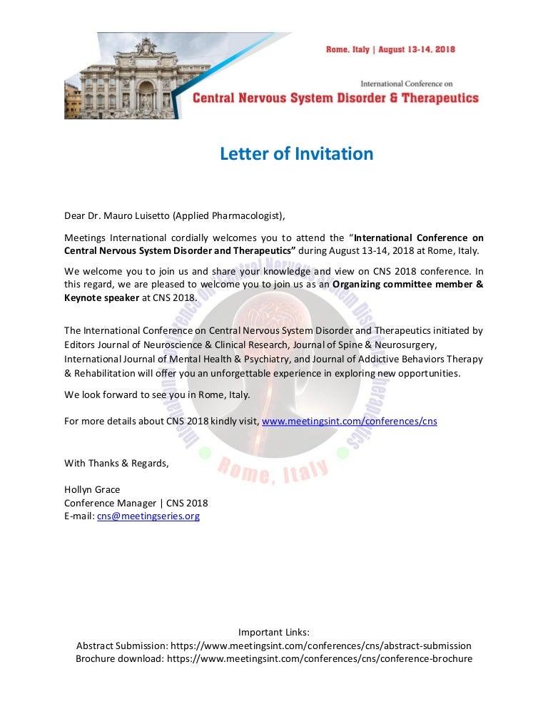 Letter of invitation dr mauro luisetto stopboris Gallery