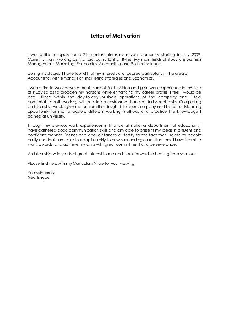 motivational letter for internship