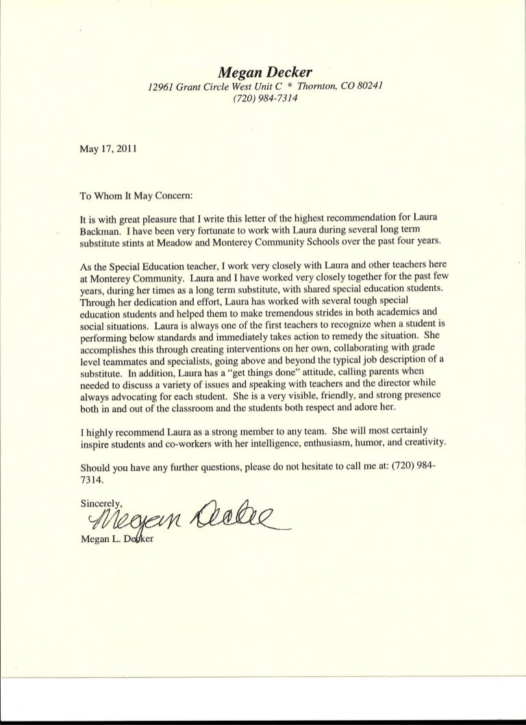 Letter Of Recommendation From Special Education Teacher From Megan De
