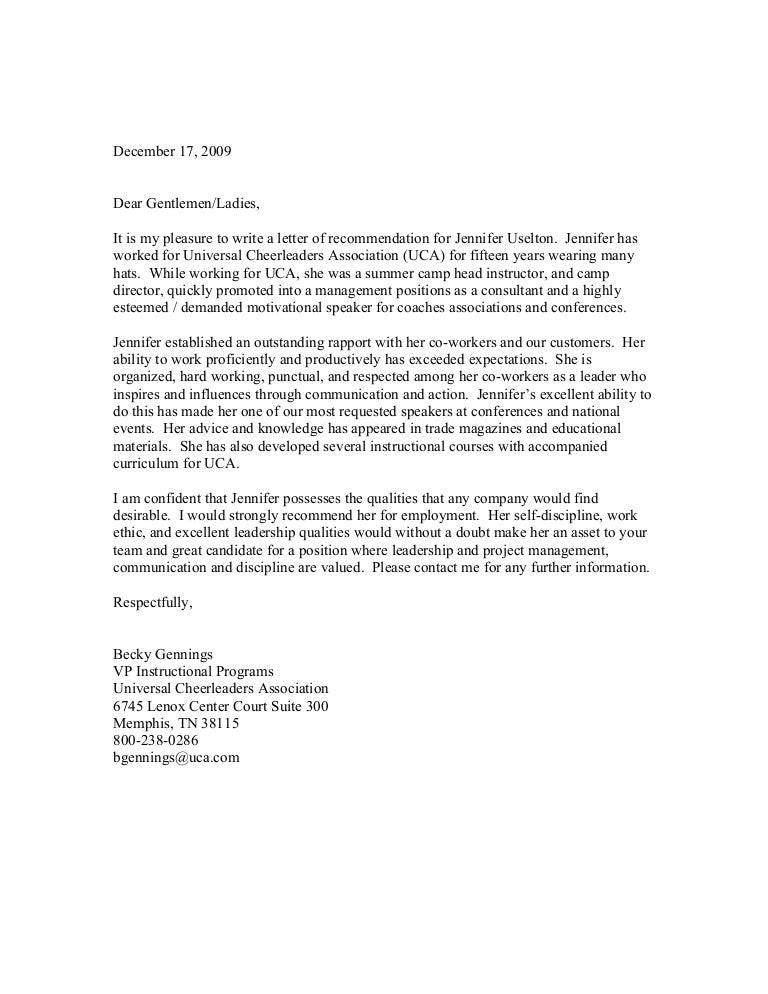 letter of recommendation 2009