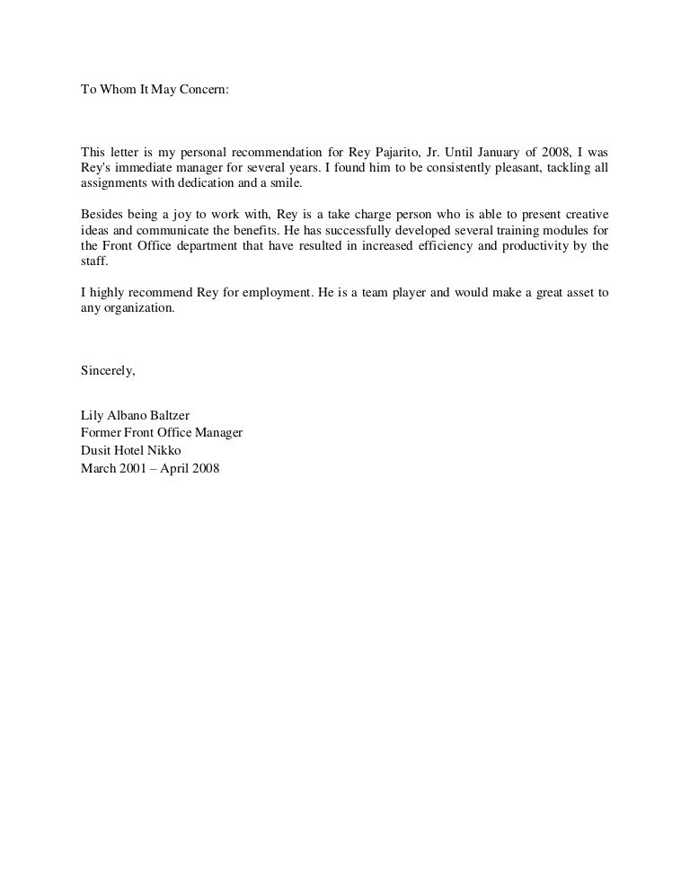 Letter of recommendation from ms lily albano baltzer for Microsoft office letter of recommendation template