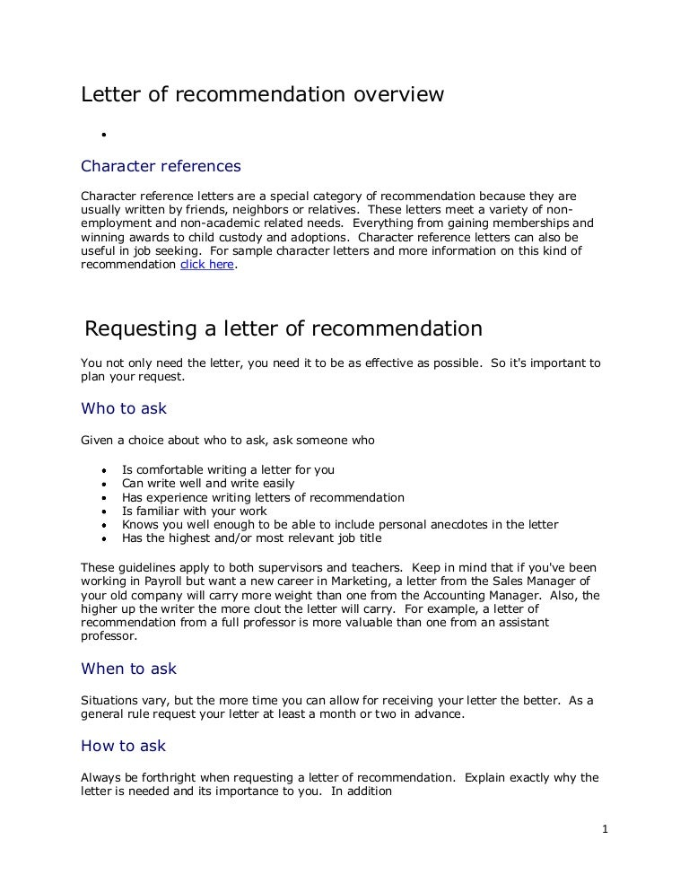 What To Ask People Writing Reference Letters To Include