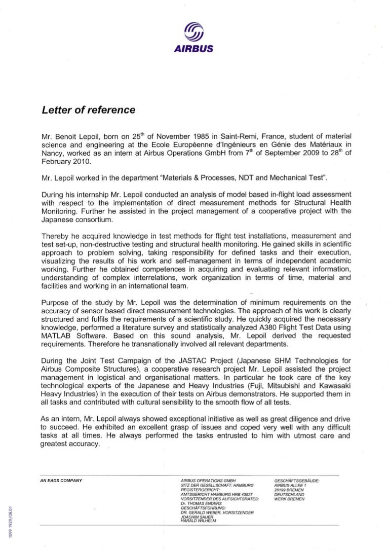 Letter of reference airbus operations gmbh aljukfo Images