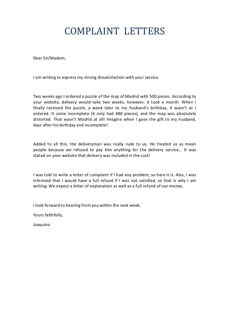 Writing A Letter Of Complaint  Formal Letter Of Complaint Sample