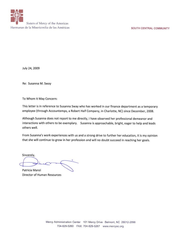Susanna sway human resources letter of recommendation spiritdancerdesigns Image collections