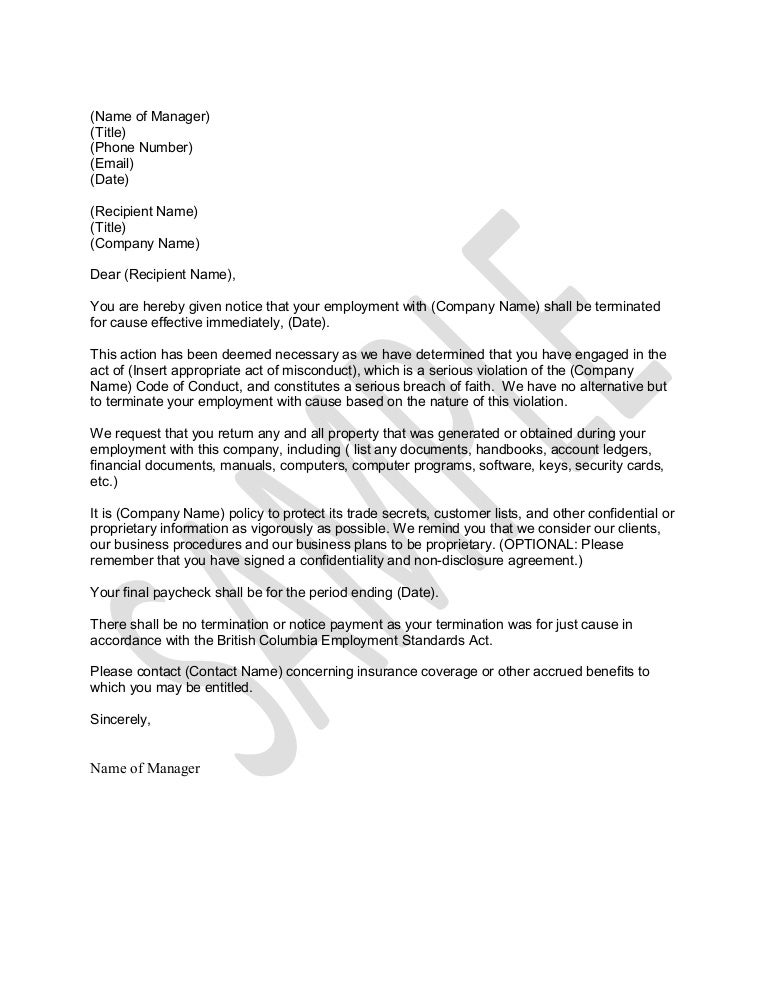 Sample Letter for Termination for Just Cause – Sample Termination Letter Template
