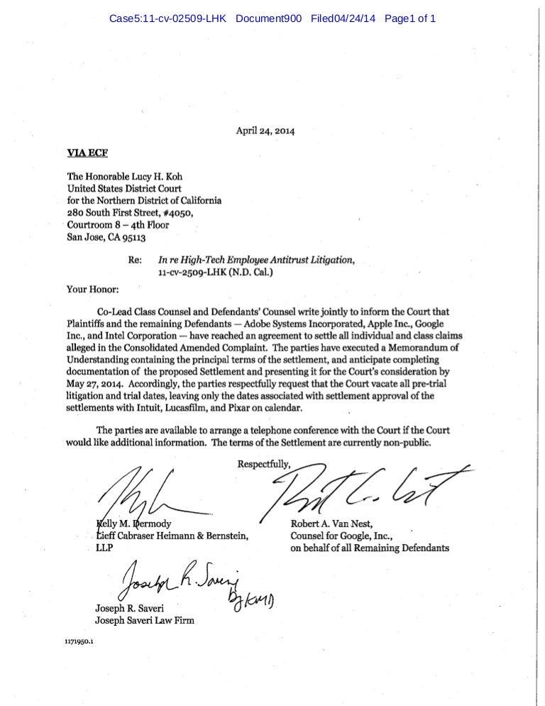 Letter to judge koh re settlement