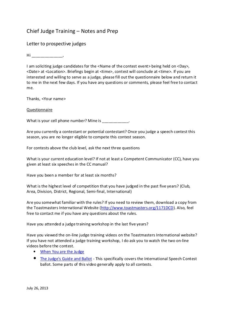 Letter To Prospective Judges Template
