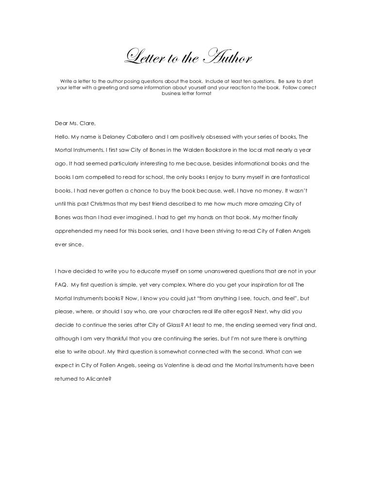 Letter Format To An Author.  Letter to the Author