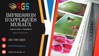 Impression d'appliqués muraux de qualité sur la Rive-Sud (Québec) - Lettrage RGS