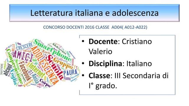 Lettratura italiana e adolescenza
