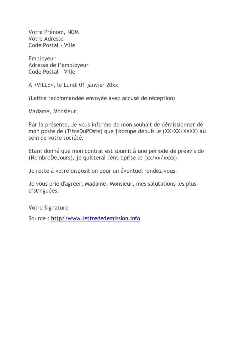 Lettre de démission (Modèle classique pour CDI)