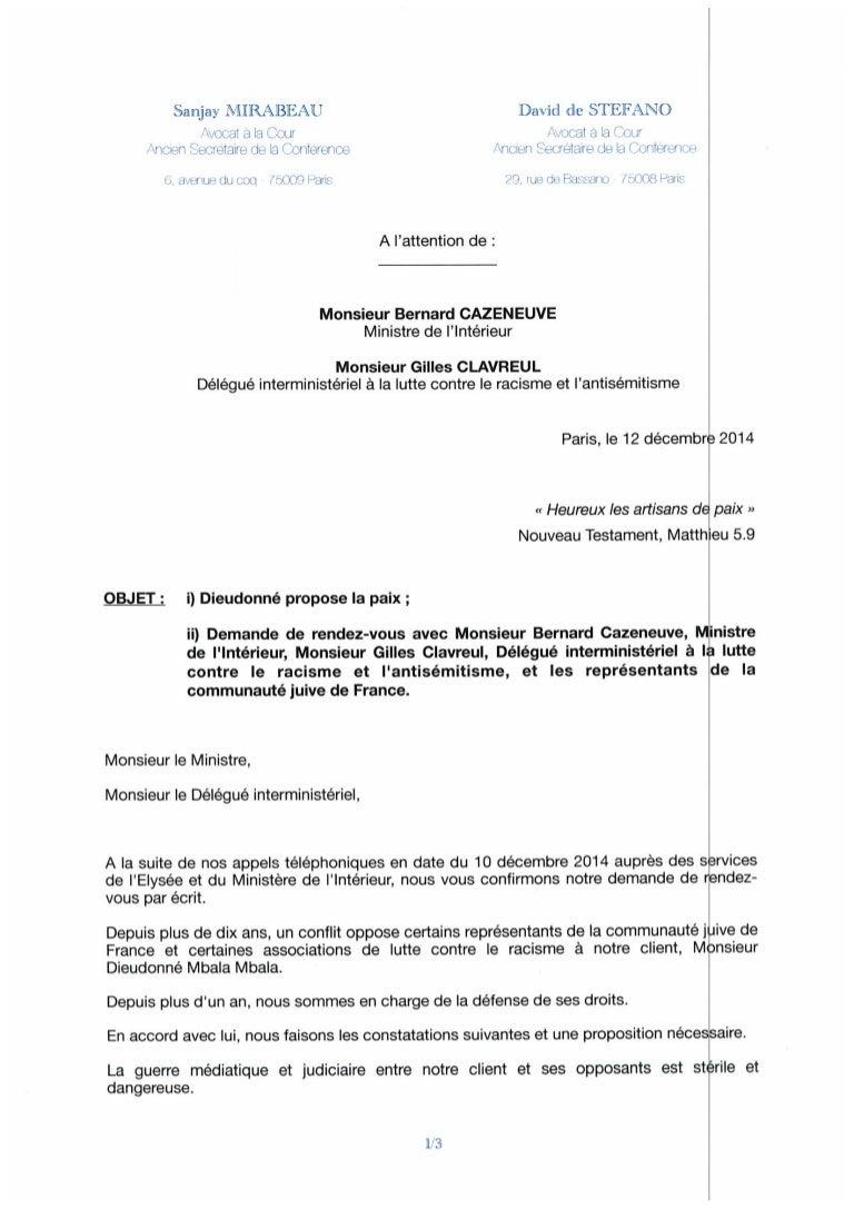 Lettre Des Avocats De Dieudonne Au Ministre De L Interieur